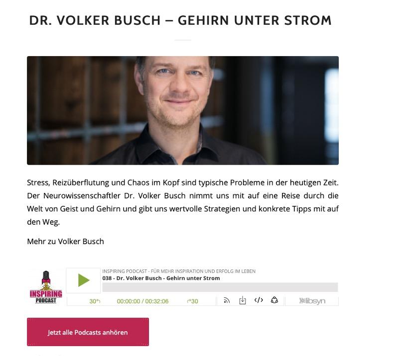 Zu Gast bei Inspiring Podcast - Dr. Volker Busch
